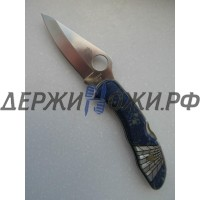 Нож Santa Fe Spyderco Delica (азурит, перламутр) складной SF/SPYJ11AZ